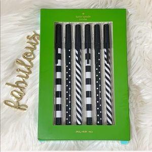 Kate Spade set of 6 black ink pens